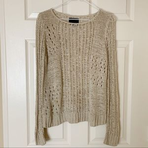 Cynthia Rowley Knit Gold Metallic Woven Sweater